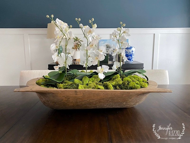 How to Style a Vintage Wood Dough Bowl With Faux Orchid Arrangement With Moss
