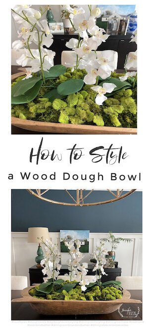 How to style a wood dough bowl with orchids and moss