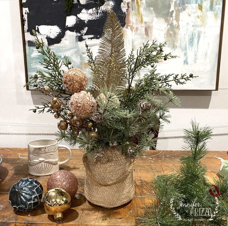 Make a boho faux floral holiday arrangement