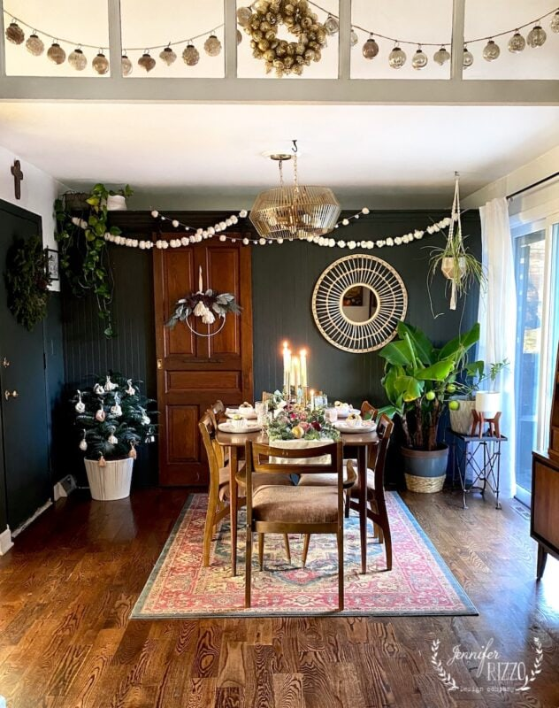 Bohemian holiday decor with MidCentury Modern Furniture