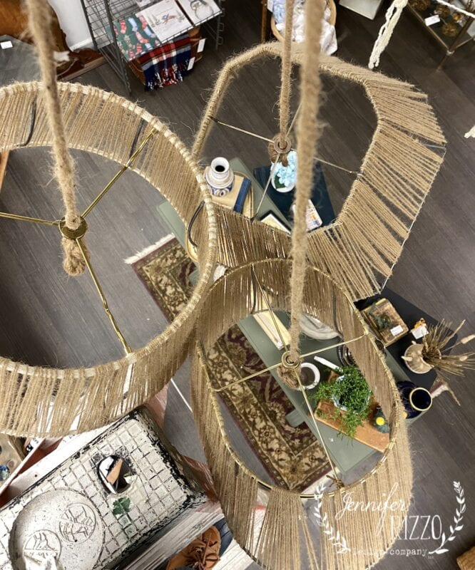 View of vintage lampshades wrapped in twine