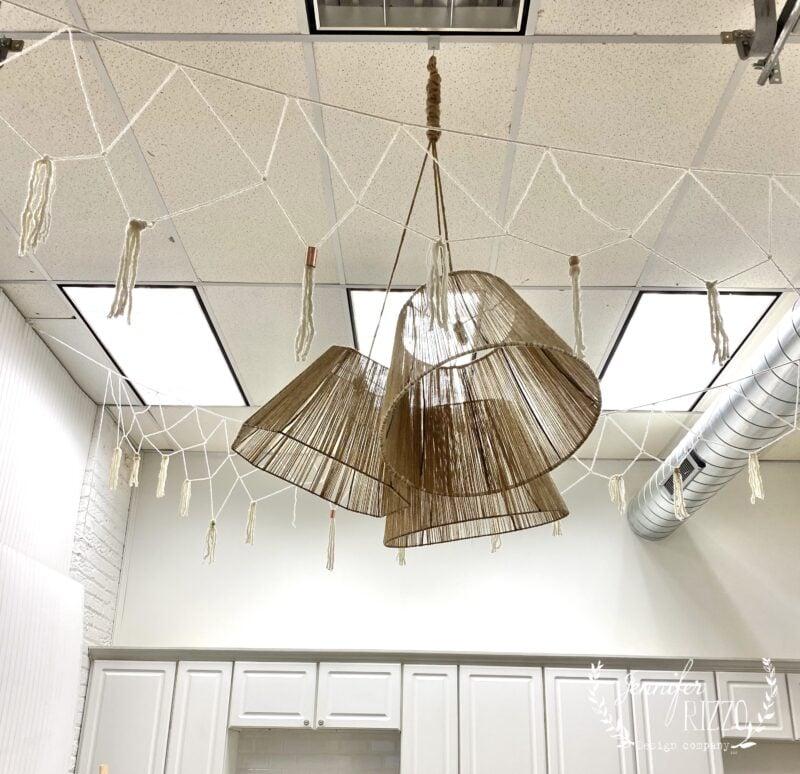 Vintage lampshades repurposed into boho shades