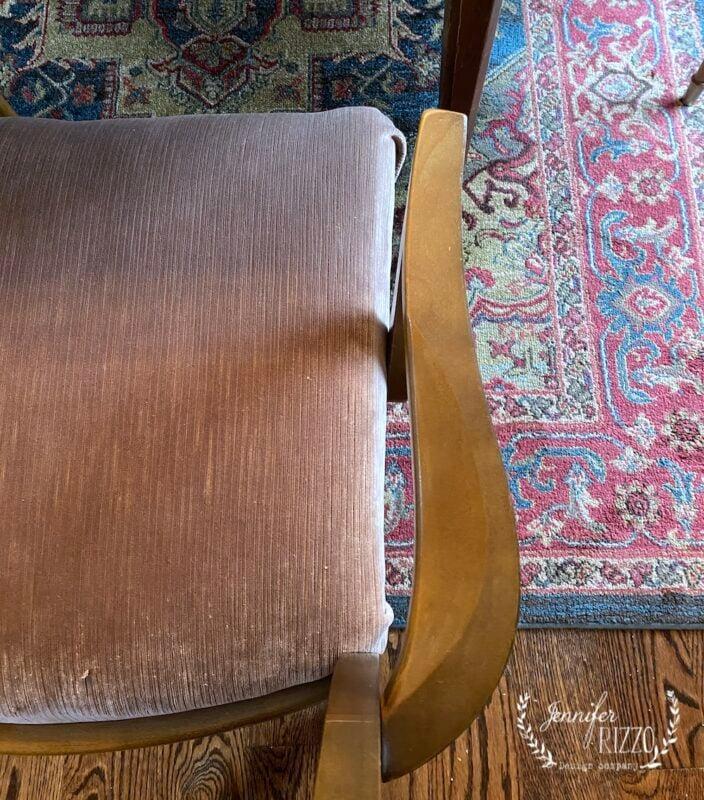 Midcentury chairs reupholstered in velvet