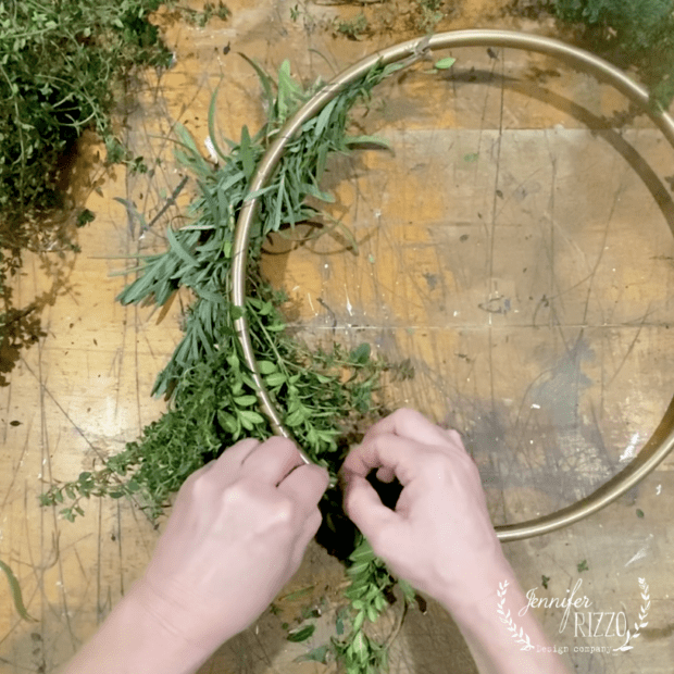 Attach herb bunch with floral wire