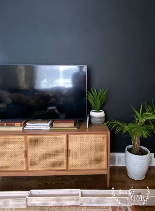 Black painted accent wall