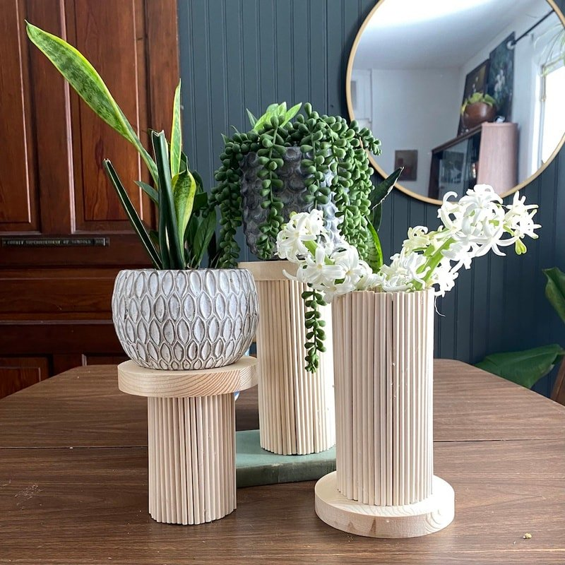 Wood Dowel Rod Vase and Plant Stand