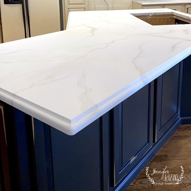 Granite countertops painted to look like marble