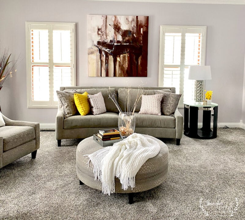 Living room redesign Jennifer RIzzo in gray and yellow and Common Interior Design Misconceptions
