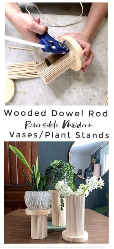 Modern reversible wood dowel rod vase and plant stand