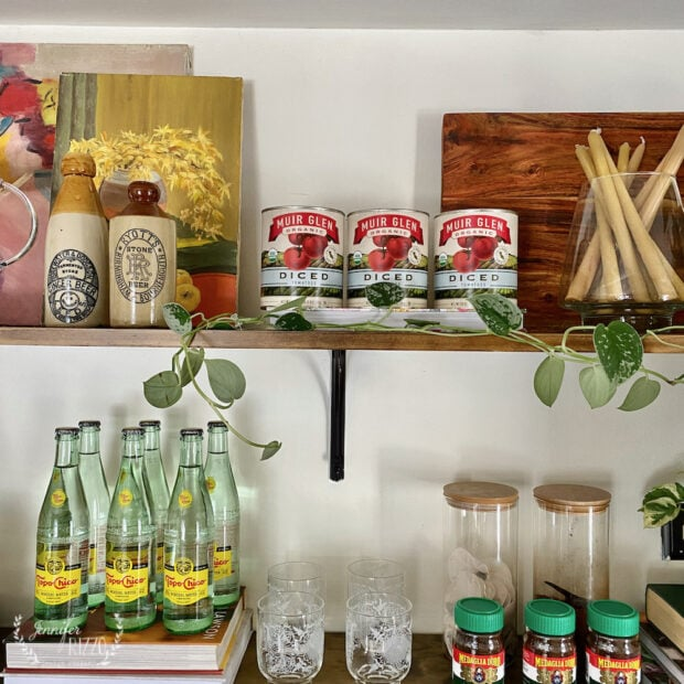 Open shleves styled with grocery store decor