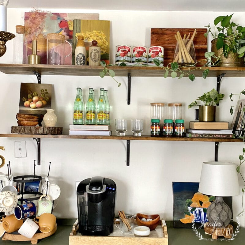 Open shelves styled from the grocery store