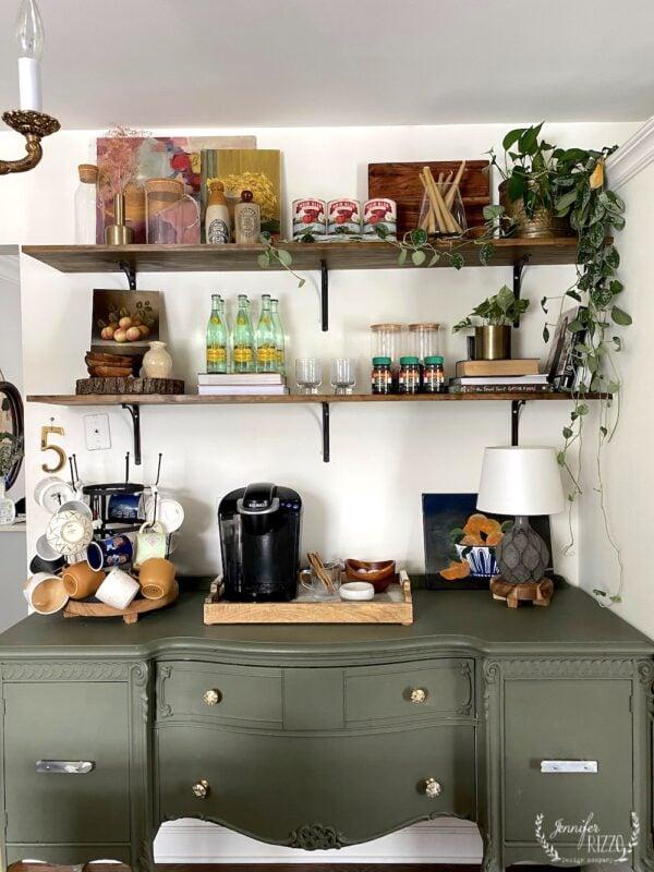 Open shelfies over the green buffet