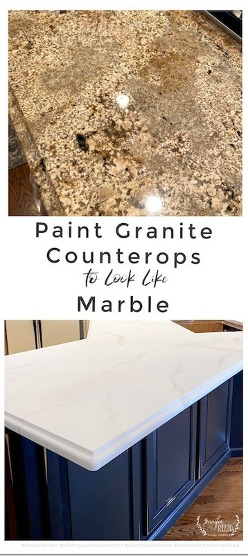 Paint granite countertops to look like marble