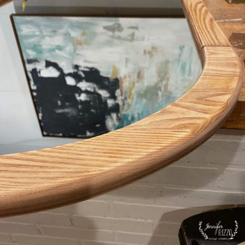 Sanded wood mirror frame