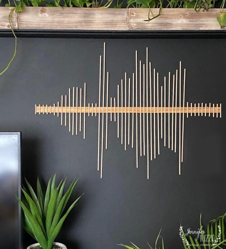 Soundwave wood dowel modern art