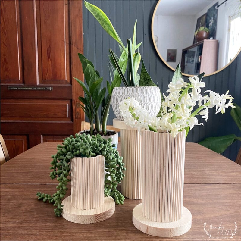 Wood Dowel rod vases also plant stands with wood bases