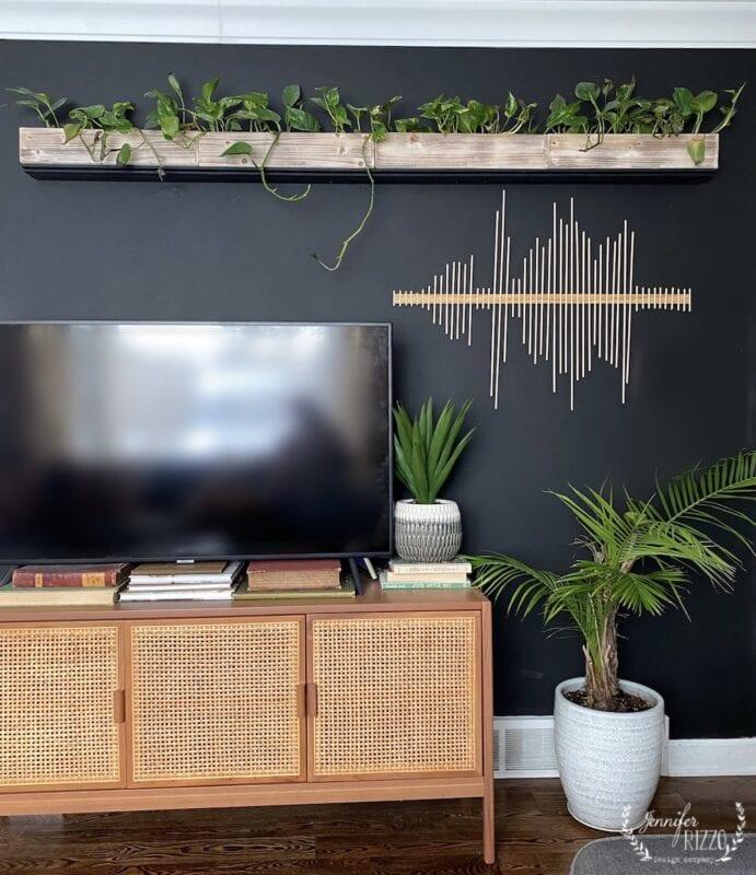 modern art made of wood dowel craft rods andsoundwaves