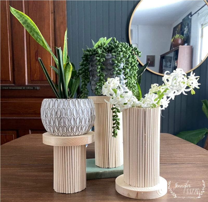Wood dowel rod vases and planters