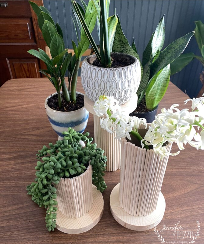 Wooden Dowel rod and craft round crafts vases and plant stands