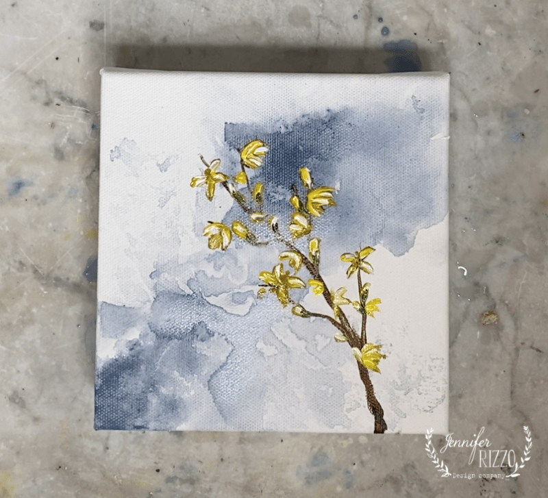 Acrylic forsythia still life painting