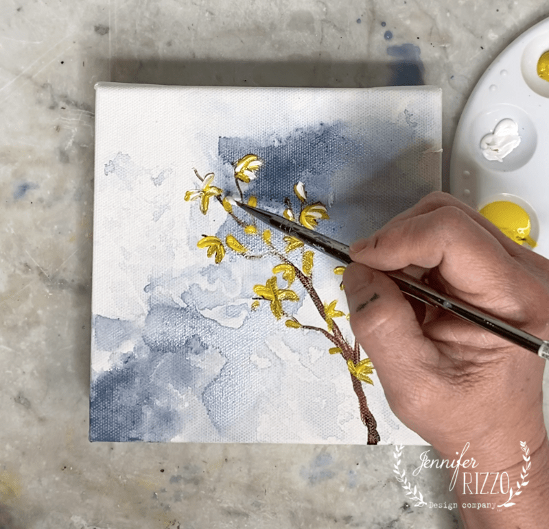 How to Paint a Forsythia Branch in Acrylic Paint