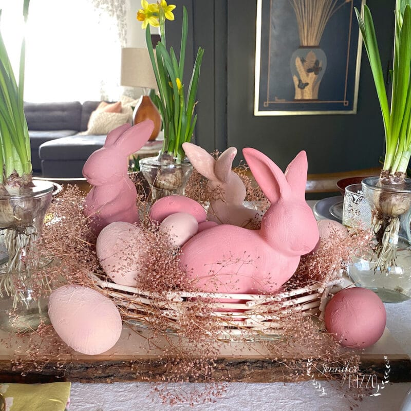Painted Easter tablescape with DIY dowelrod basket