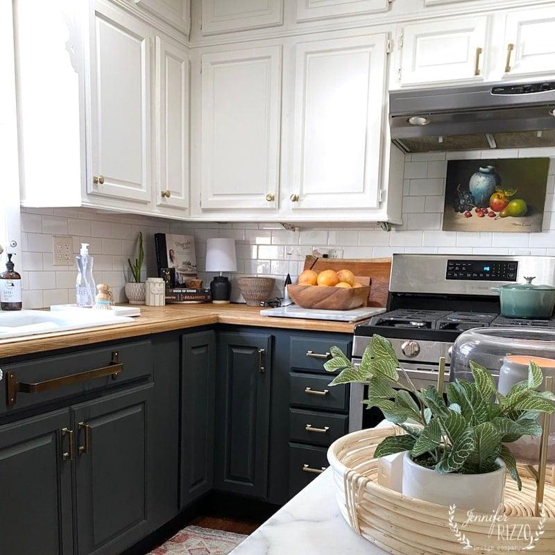 Painting Bottom Kitchen Cabinets Dark Green
