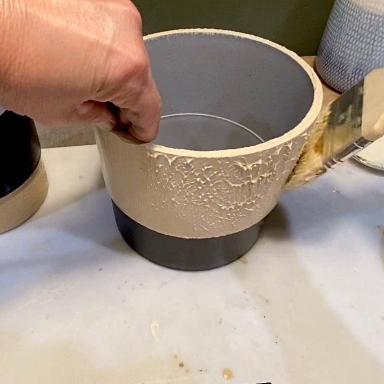Use brush to stipple putty
