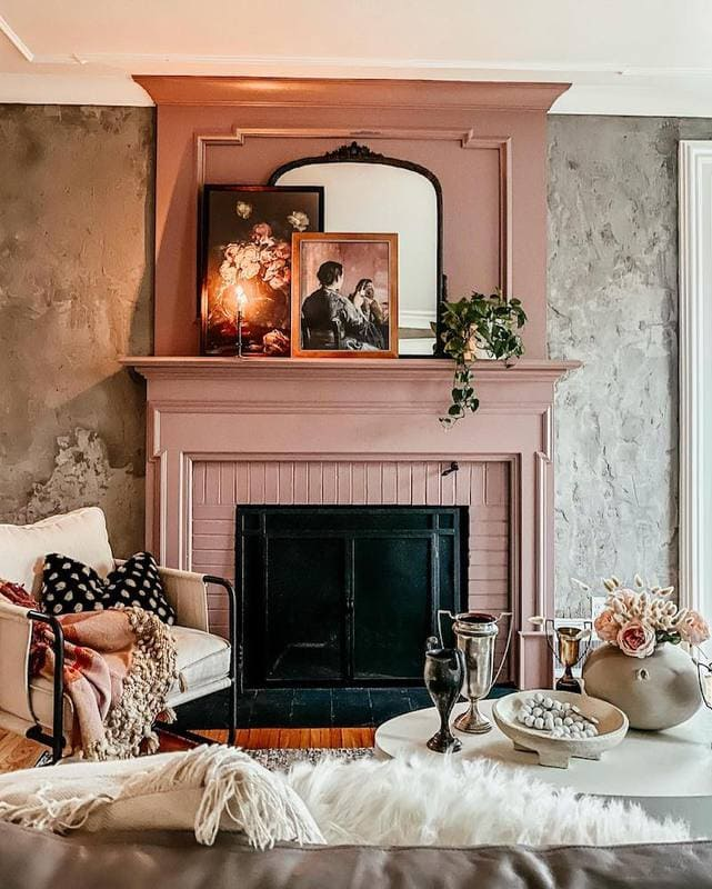 Kindred Vintage Fireplace in dusty earth colors