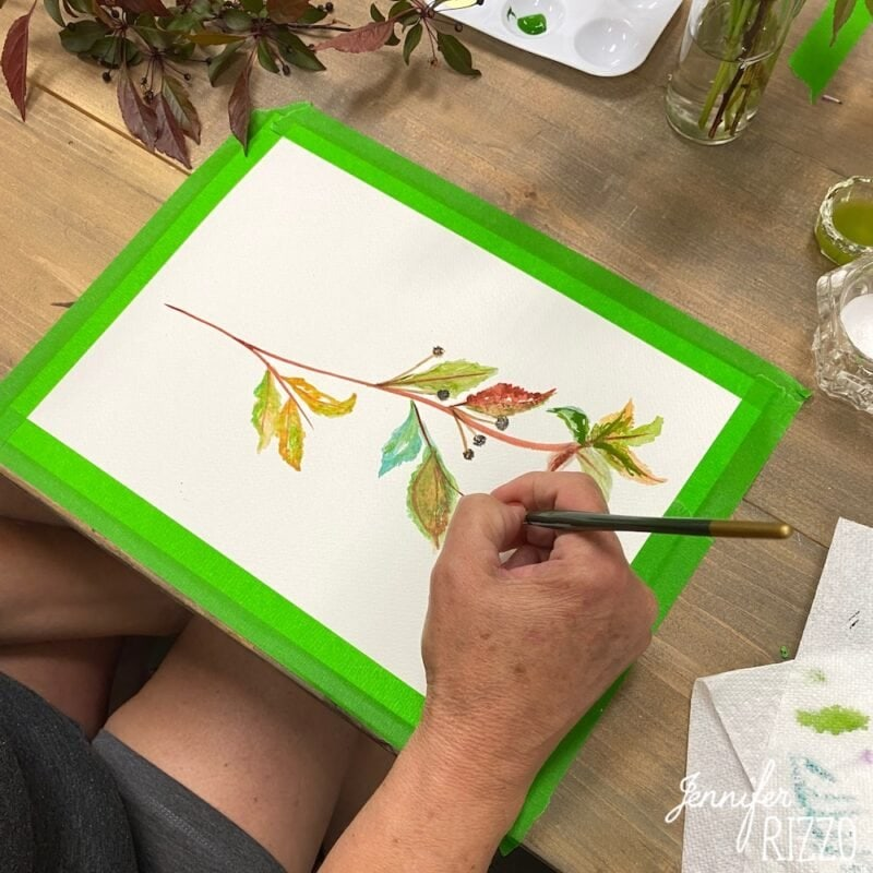 Painting a branch in watercolor