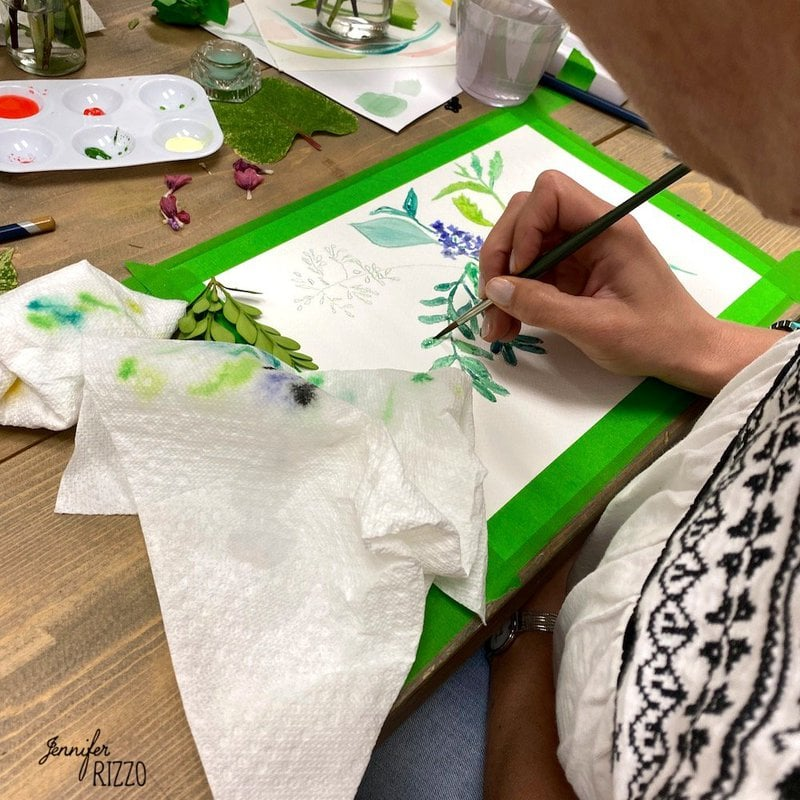 Watercolor Workshop Painting Petals and Leaves