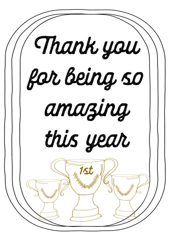Thank you for being so amazing trophy free printable