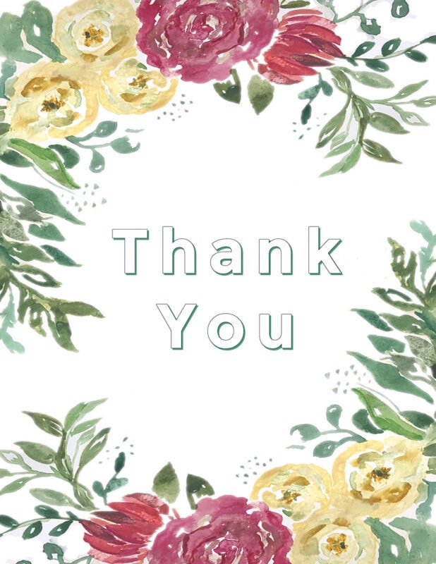 Thank you watercolor floral card with roses
