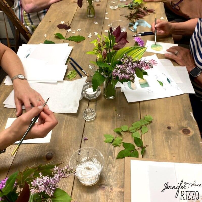 Watercolor flower workshop Jennifer Rizzo