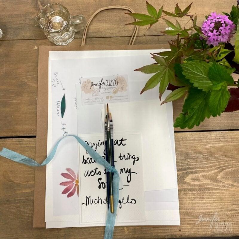 Watercolor petals and leaves wrokshop Watercolor workshop kit