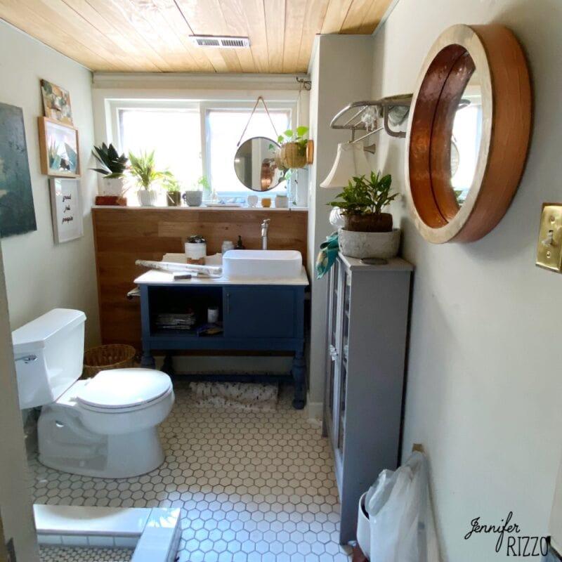 Bathroom after ceiling before makeover