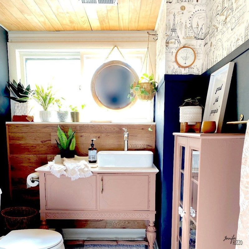 Guest Bathroom with a Wood Ceiling Makeover
