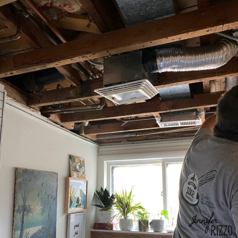 Ceiling before makeover