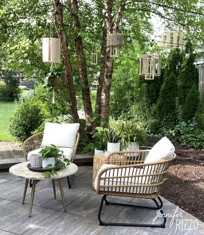 Patio with DIY dowel rod and embroidery hoop lanterns