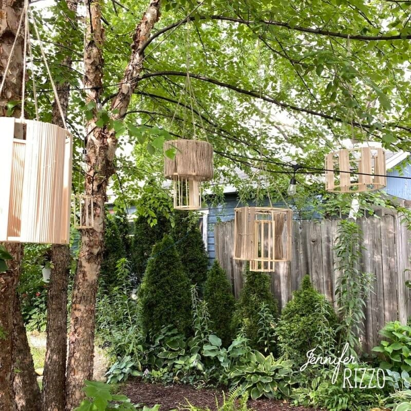 Hanging lanterns made from dowel rods