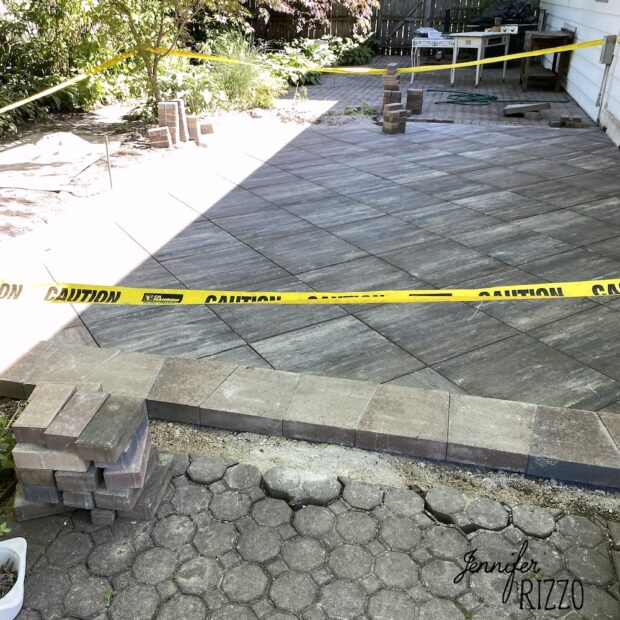 Joining old and new stone patios