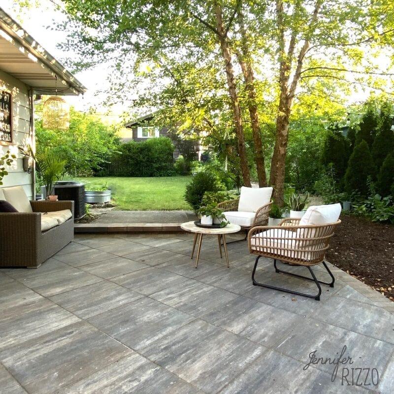 Large scale paver stone patio