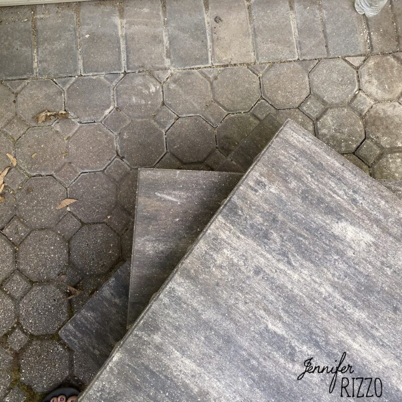 Mixing new and old patio stones in a paver patio
