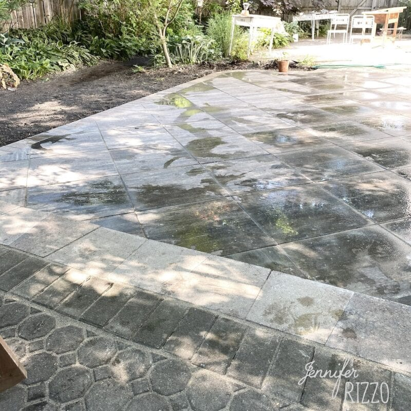New paver patio with mixed stone and paver patio design with large stone pavers