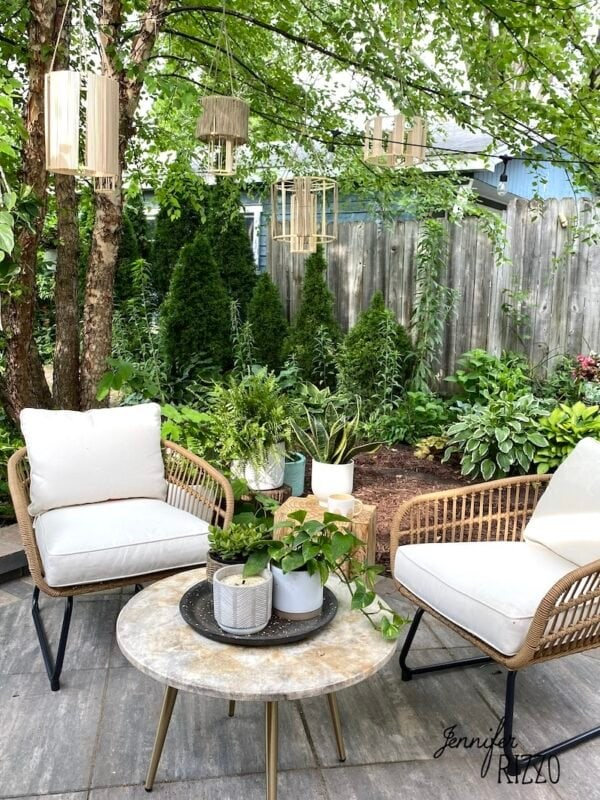 Outdoor patio seating and DIY lanterns