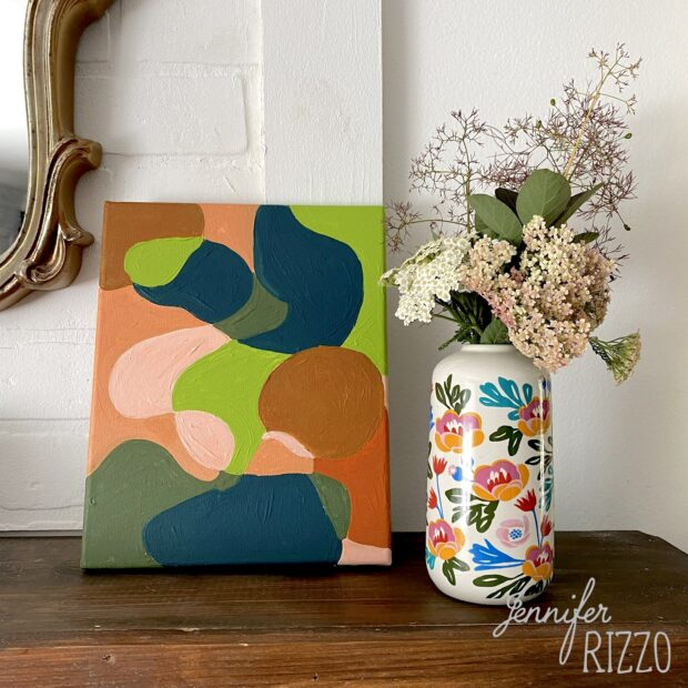 Paint this easy line fill abstract art
