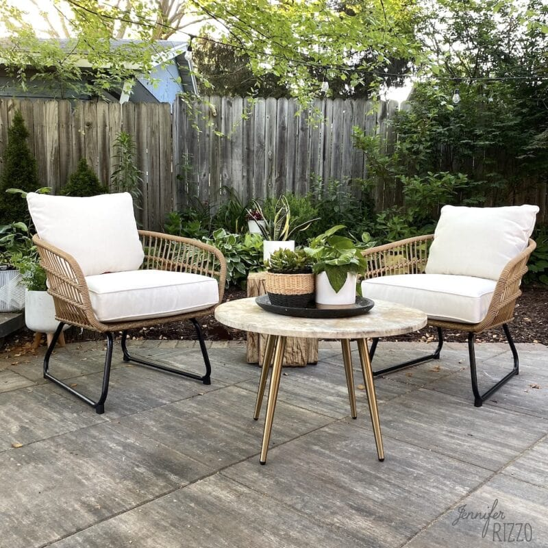 Patio decor idea with bamboo rattan chairs