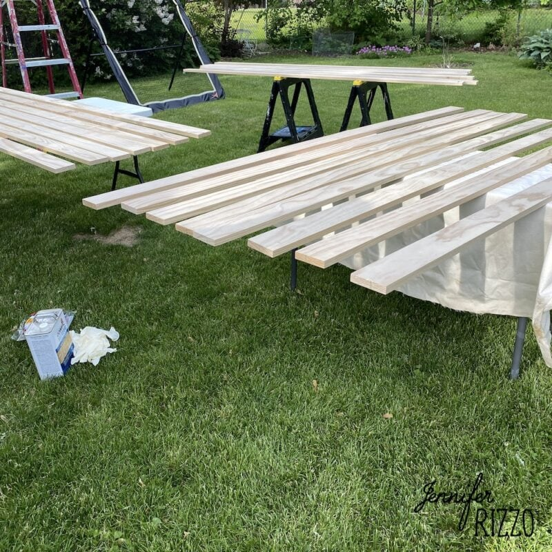 Staining pine boards for ceiling