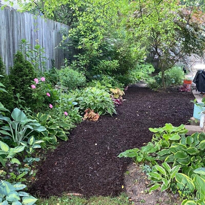 Add mulch or pea gravel to create yard interest