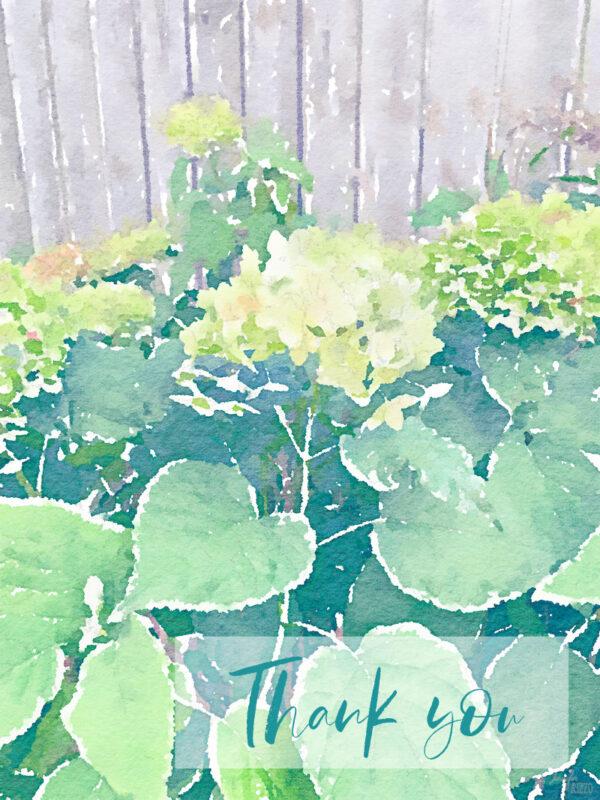 Free Hydrangea watercolor printable thank you card
